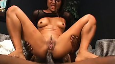 Hot Asian girl gets a black dick drilling all her holes and she does ATM