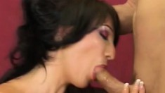 Fascinating young brunette Carmilla gets her lovely pussy creampied