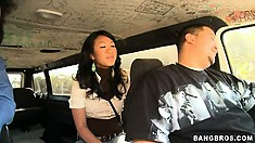 Asian delight is just around the corner with this young amateur cutie on the Bang Bus