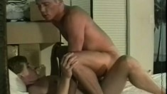 Submissive dude sits his tight ass down on his man's stiff meat